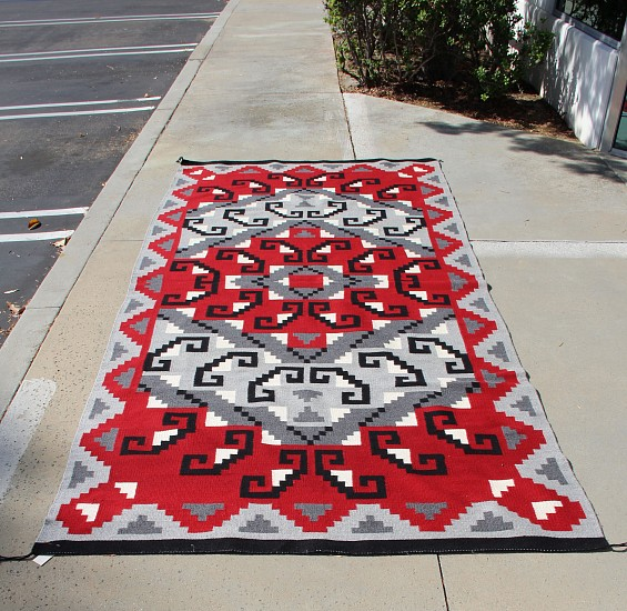 "01 - Navajo Textiles, HUGE Navajo Rug: Ganado/Klagetoh with Hooks Motif, Dark Gray Field (5' 2"" x 10' 10"") New, Handspun wool"