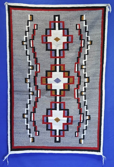 01 - Navajo Textiles, Antique Navajo Ganado rug with Interlocking Crosses Motif 1920, Handspun wool