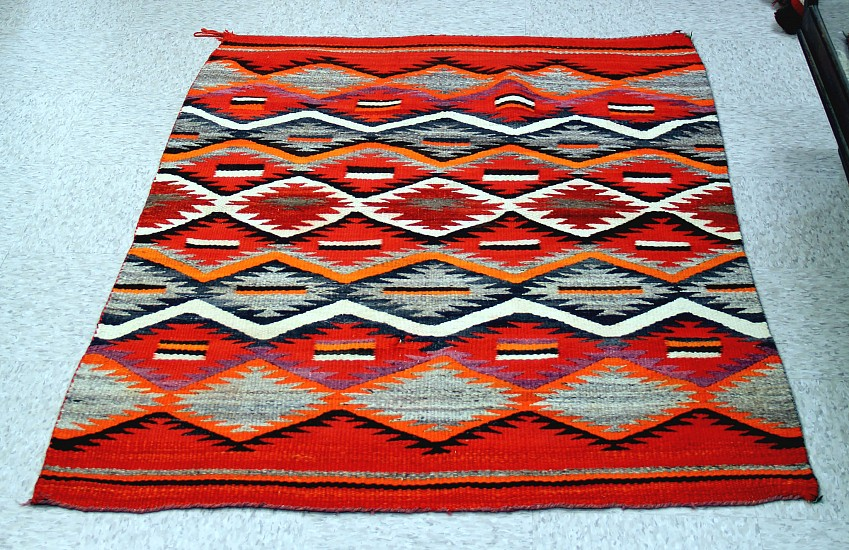 "01 - Navajo Textiles, Antique c.1880 Navajo Transitional Blanket for wall or bed 43""x60"" c. 1880"