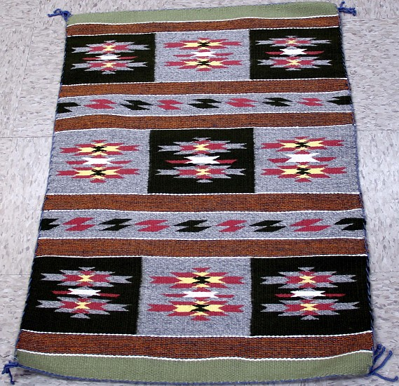 "01 - Navajo Textiles, Navajo Rug: 2018 Chinle Sampler, Multicolor, by Karen Johnny (24"" x 33.5"") 2018, Handspun wool"