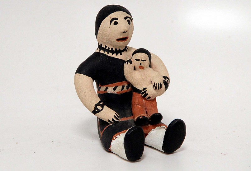 "03 - Pueblo Pottery, Cochiti Pottery: c. 1970 Storyteller with Child by Seferina Ortiz (4"" ht) c. 1970, Hand coiled clay pottery"