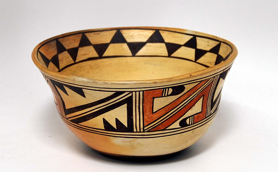"03 - Pueblo Pottery, Hopi Pottery: c. 1920 Large Stew Bowl (4 3/4"" ht x 9 3/8"" d) c. 1920, Hand coiled clay pottery"