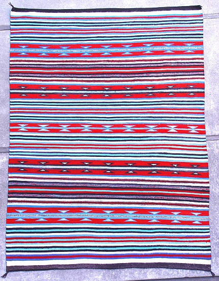 "01 - Navajo Textiles, 96""x69"" Navajo Rug: c. 1950 Banded Chinle with Rare Blue Color Combination, Mint Condition (69"" x 96"") 1950, Wool Warp and Weft"