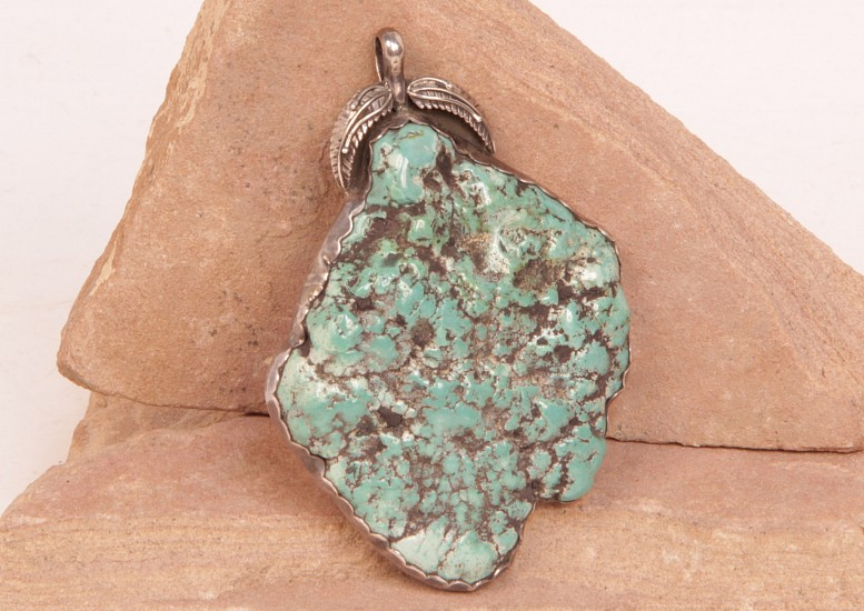 "07 - Jewelry-Old, Large Necklace Pendant: Seafoam Nugget Turquoise, Leaf Motif (2.25"" x 3.25"") Sterling Silver and Turquoise"