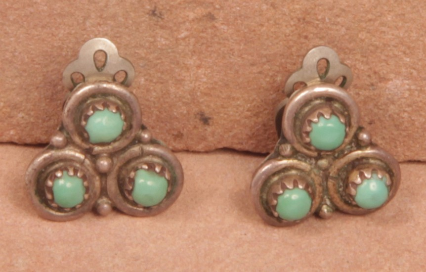 "07 - Jewelry-Old, Zuni Clip Earrings: Three Turquoise Settings on Sterling Silver, Beadwork (0.5"") c. 1960s, Sterling Silver and Turquoise"